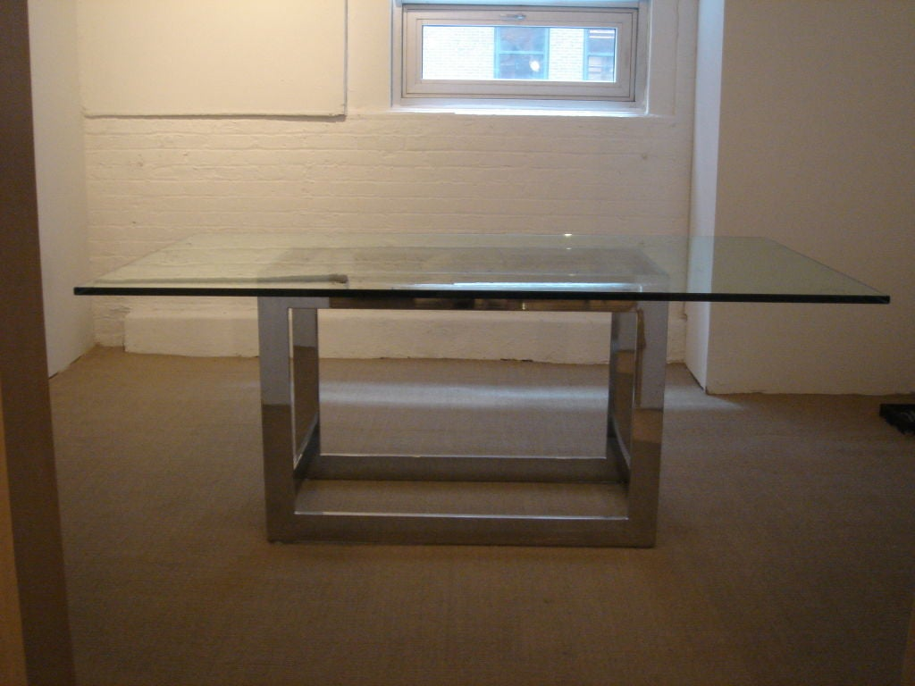Chrome And Glass Dining Table Base By Milo Baughman For Thayer Coggin
