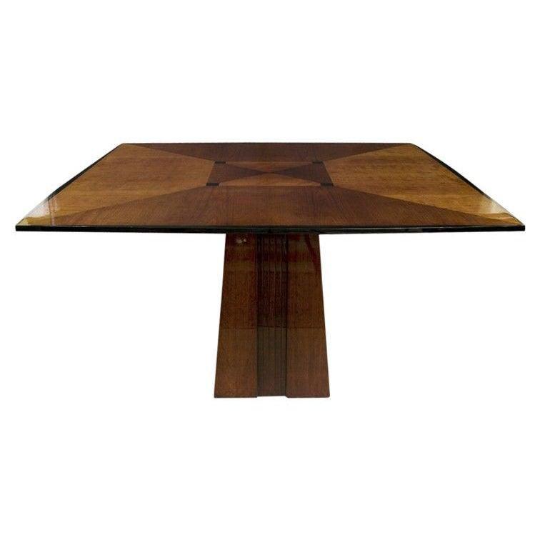 Mitered Mahogany Pedestal Dining Table By Dakota Jackson At 1stdibs