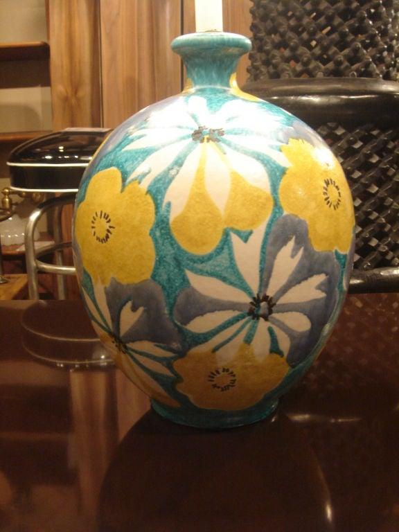 Italian Majolica Floral Table Lamp by Raymor 3