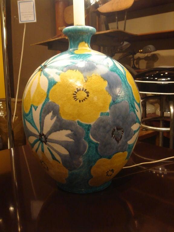 Italian Majolica Floral Table Lamp by Raymor 4
