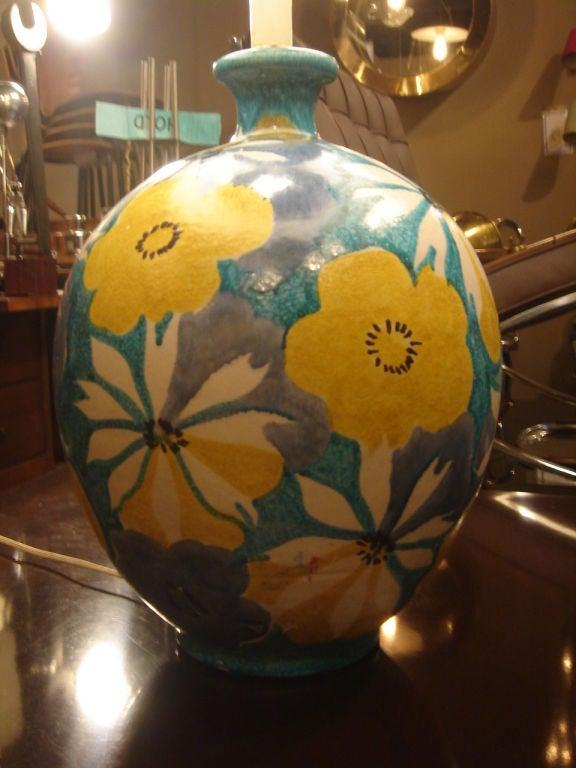 Italian Majolica Floral Table Lamp by Raymor 5