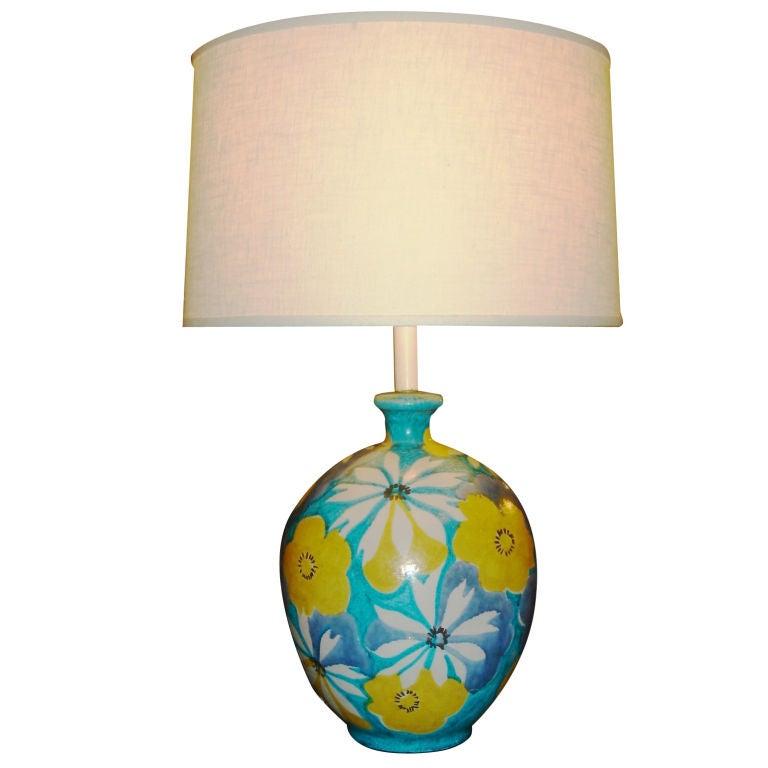 Italian Majolica Floral Table Lamp by Raymor 1