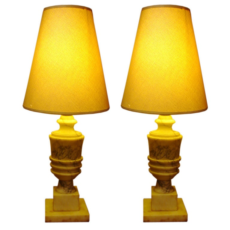 Pair of Vintage 1940s French Alabaster Boudoir Lamps