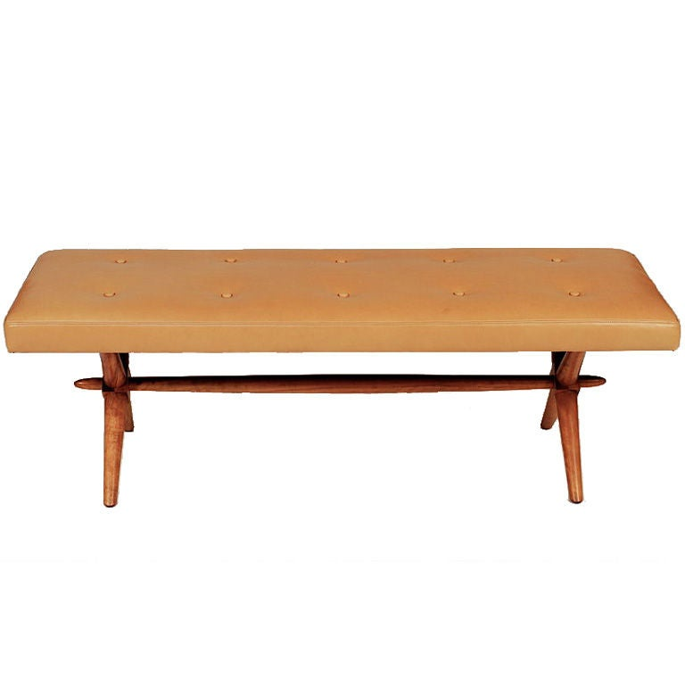 T H Robsjohn Gibbings X Base Leather Bench At 1stdibs