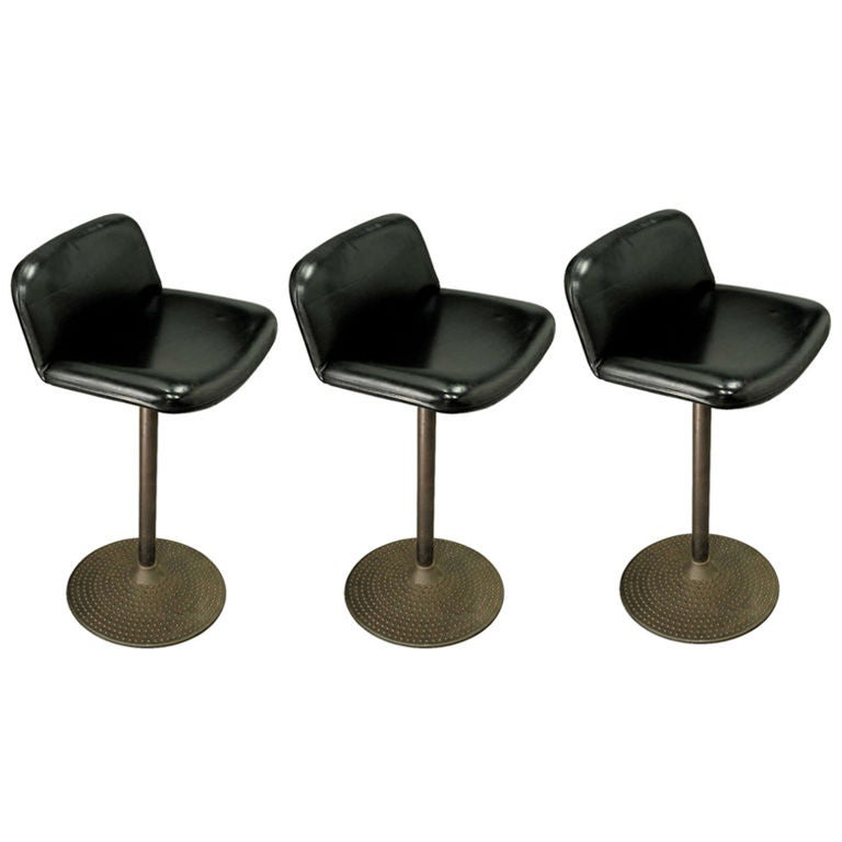 Three Ilmari Tapiovara Leather And Bronze Barstools At 1stdibs