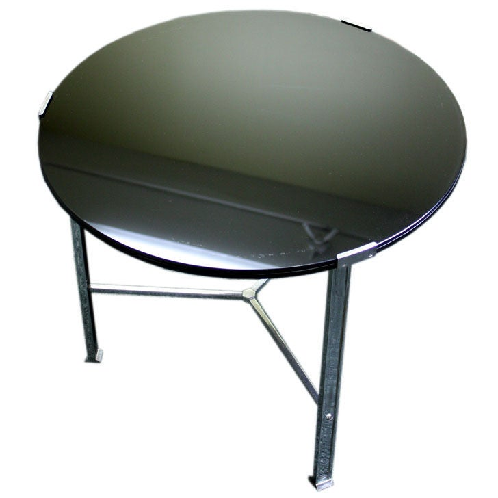 Black glass and chrome coffee table from england at 1stdibs Black and chrome coffee table
