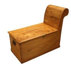"Antique Pine Trunk ""Recamier"" Coffee Table"