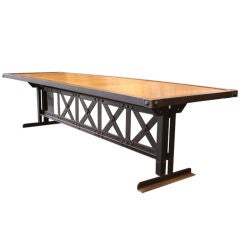 French 10'  X Base Steel Riveted Dining Table