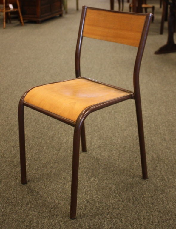 vintage 1950 39 s french industrial wood and metal chairs at 1stdibs