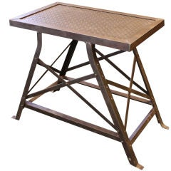 French 1940s Industrial Steel Riveted Side Table
