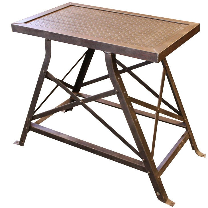 This antique french cherry side table is no longer available - French 1940s Industrial Steel Riveted Side Table At 1stdibs