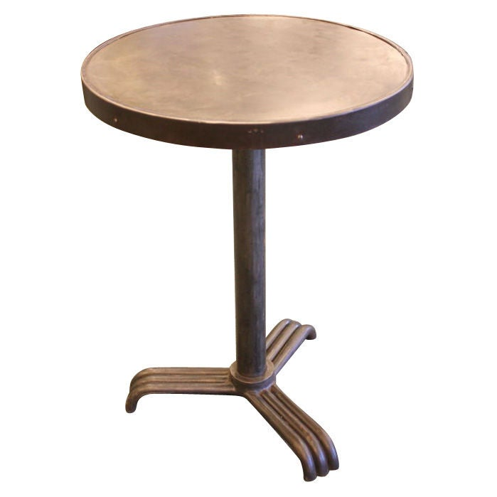 Small French Vintage Round Industrial Table 1