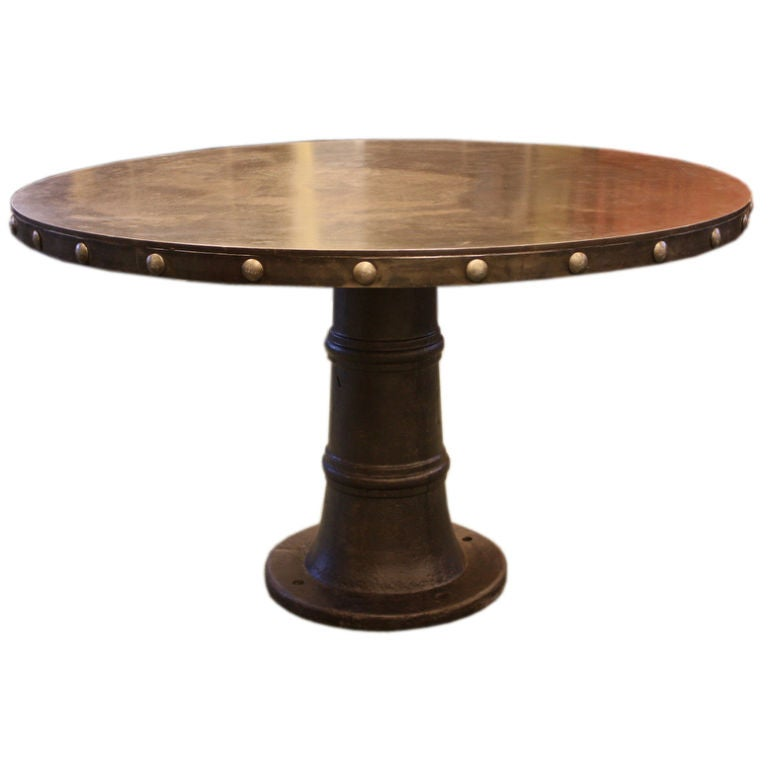 50 diameter industrial steel riveted round french dining table at 1stdibs - Inch diameter dining table ...