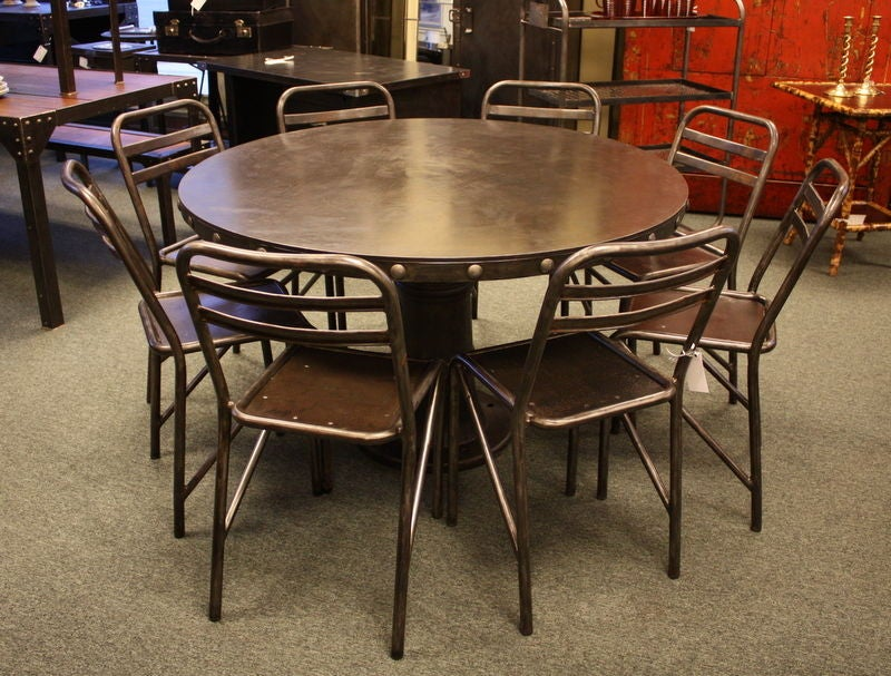 diameter industrial steel riveted round french dining table image 6