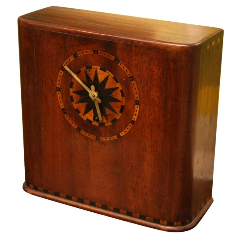 Marquetry Inlaid Art Deco Mahogany Clock For Sale