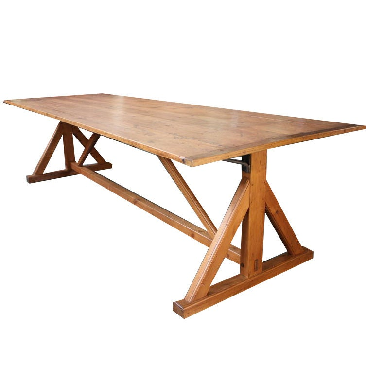 Long Mid Century French Industrial Wooden Table At 1stdibs