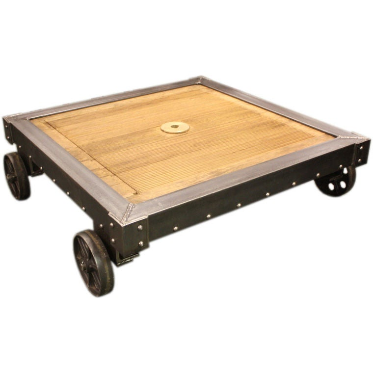 French Industrial Steel And Wood Coffee Table At 1stdibs