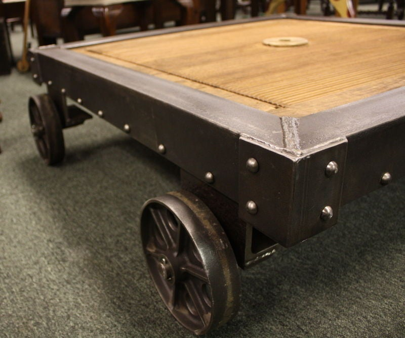 Industrial Coffee Table On Wheels At 1stdibs: French Industrial Steel And Wood Coffee Table At 1stdibs