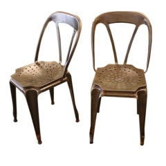Pair of French Industrial Steel Bistro Chairs