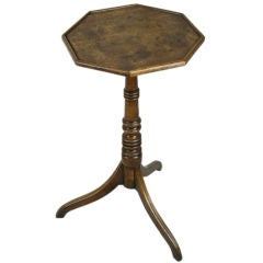 Small English Period Oak Eight-Sided Table, Tripod Base