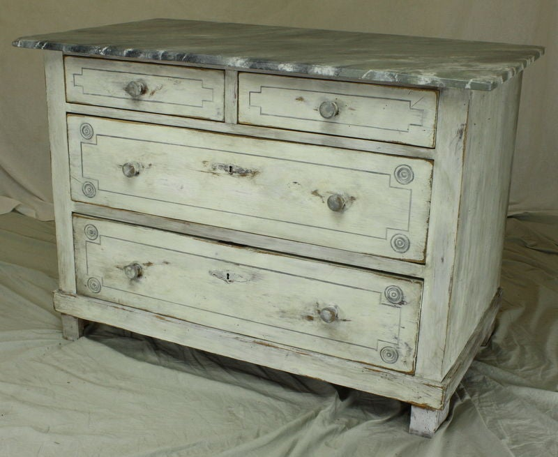 Antique pine chest of drawers hand painted at 1stdibs for Hand painted chests