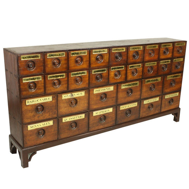 Antique English Mahogany Apothecary Drawers On Stand At