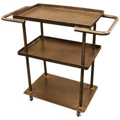 Small French Industrial Steel Trolley