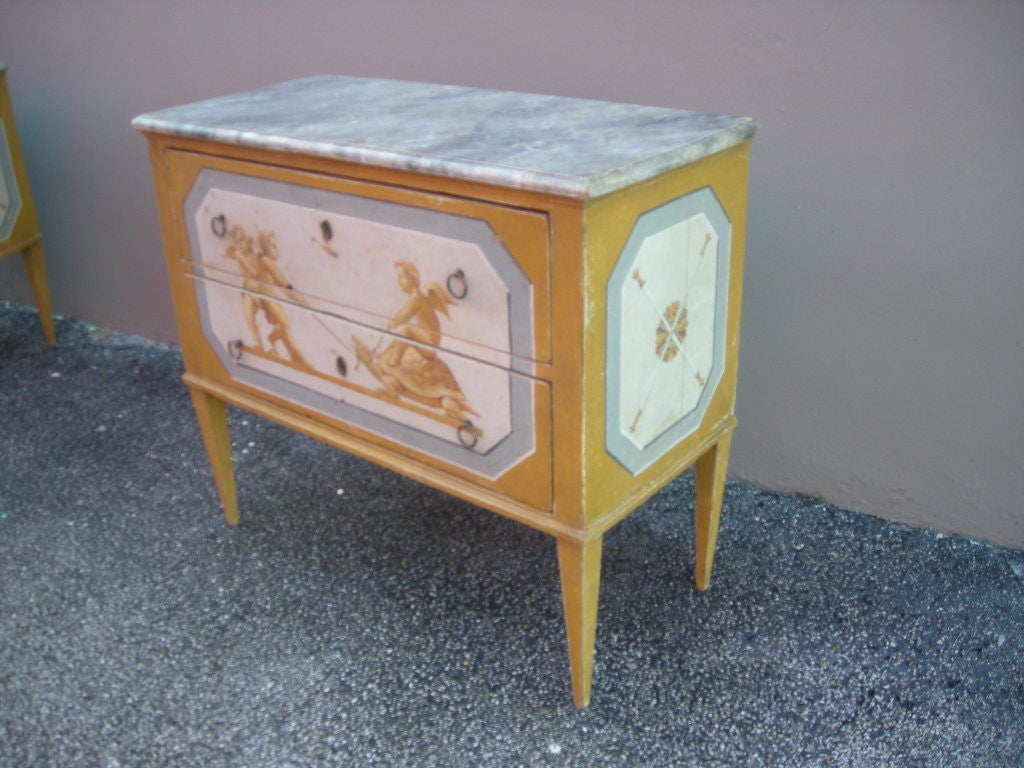 Pair of hand painted italian chest of drawers at 1stdibs for Hand painted chests
