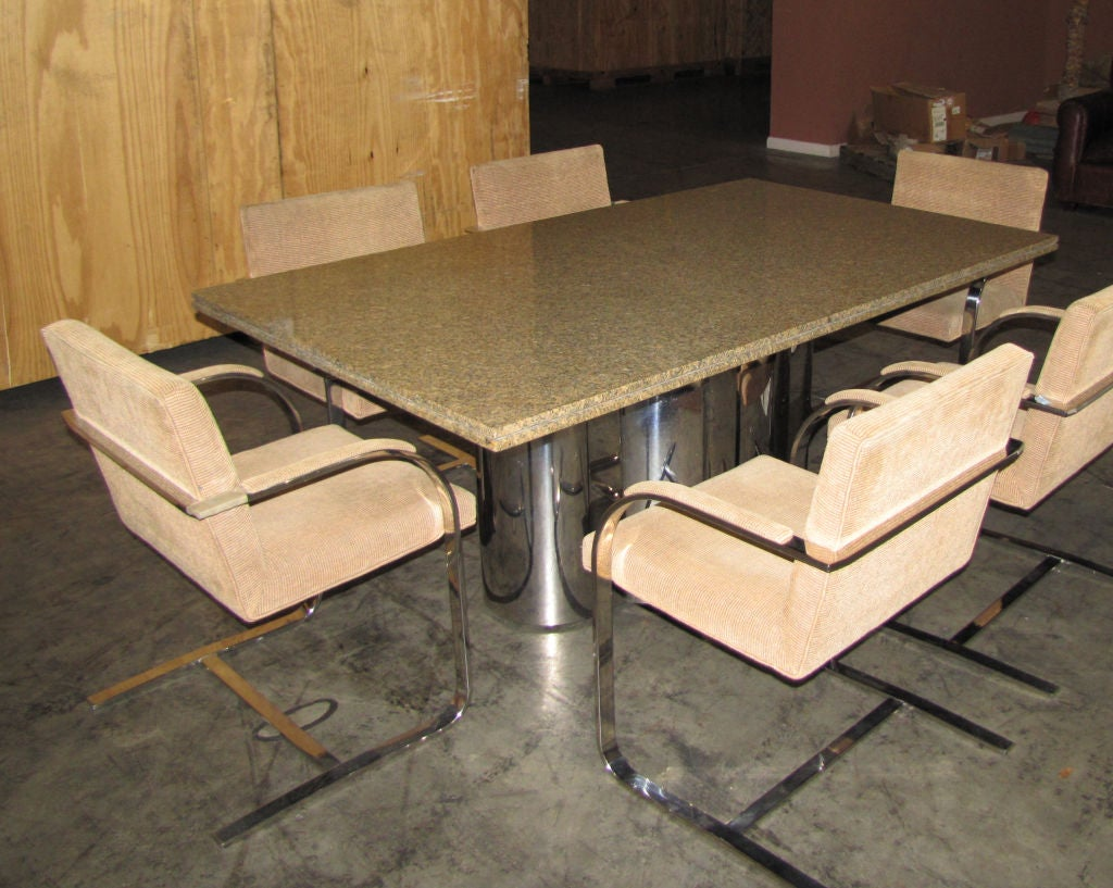 Chrome base dining table with granite top image 5 for Granite dining table