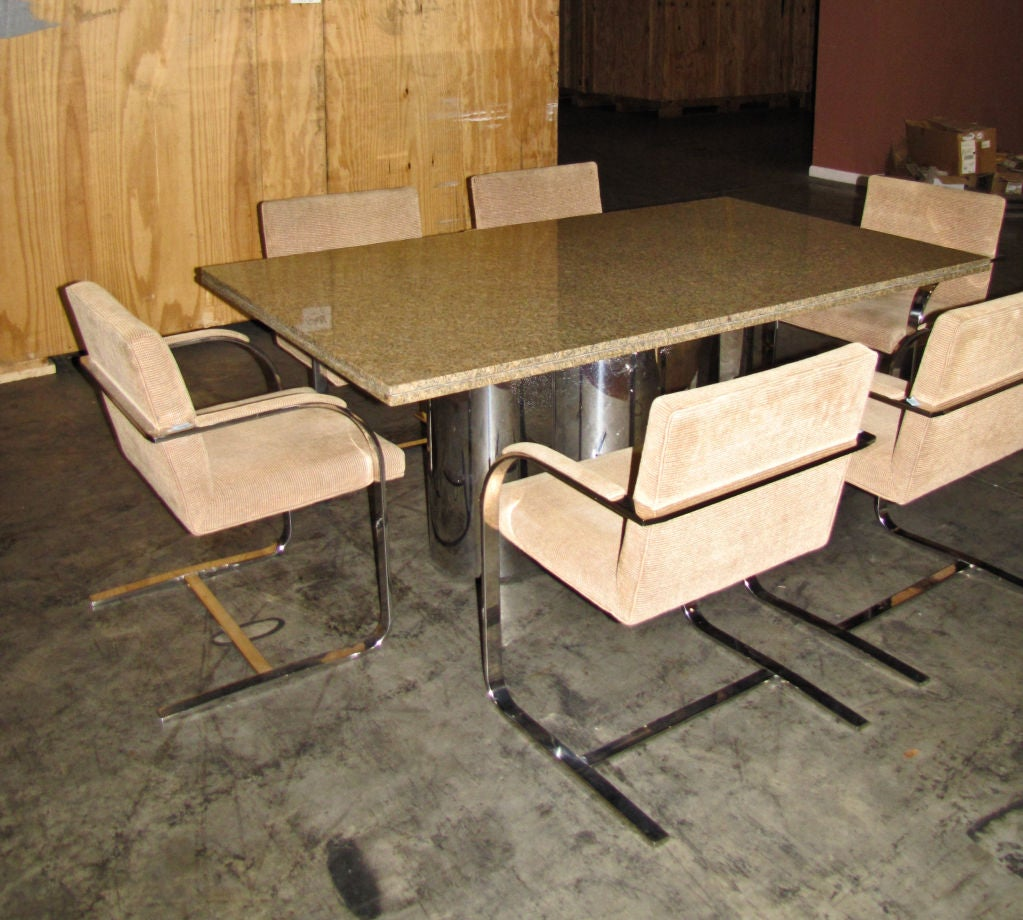 Chrome base dining table with granite top at 1stdibs for Granite dining table