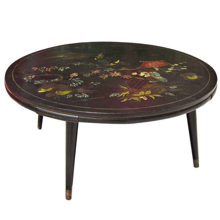Chinese Modern Round Lacquered Coffee Table At 1stdibs