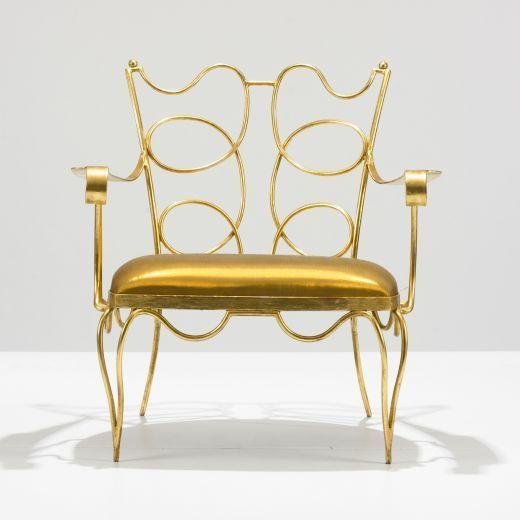Mid-20th Century Arturo Pani Gilt over Iron Hand Forged Chair