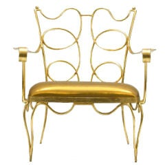 Arturo Pani Gilt over Iron Hand Forged Chair