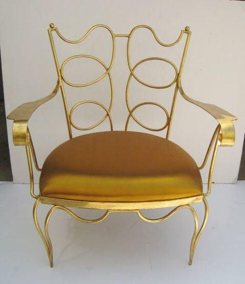 Arturo Pani Gilt over Iron Hand Forged Chair 2