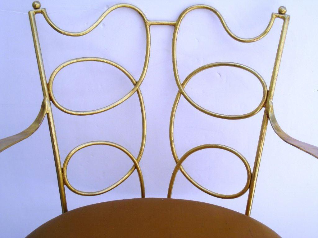Arturo Pani Gilt over Iron Hand Forged Chair 3