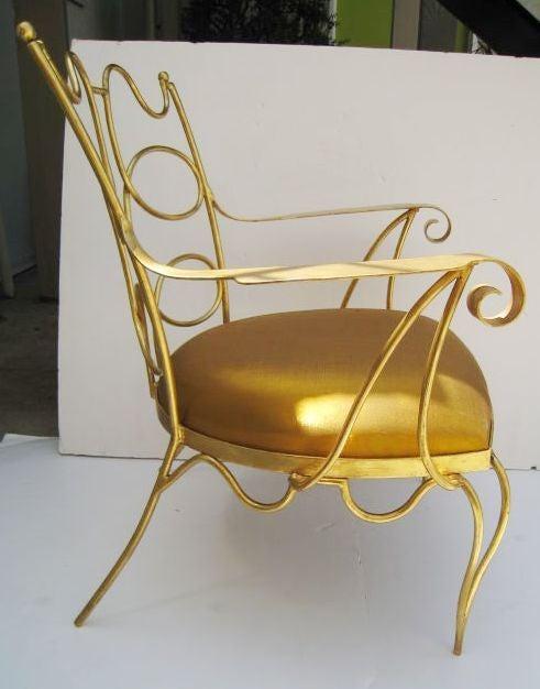 Arturo Pani Gilt over Iron Hand Forged Chair 1