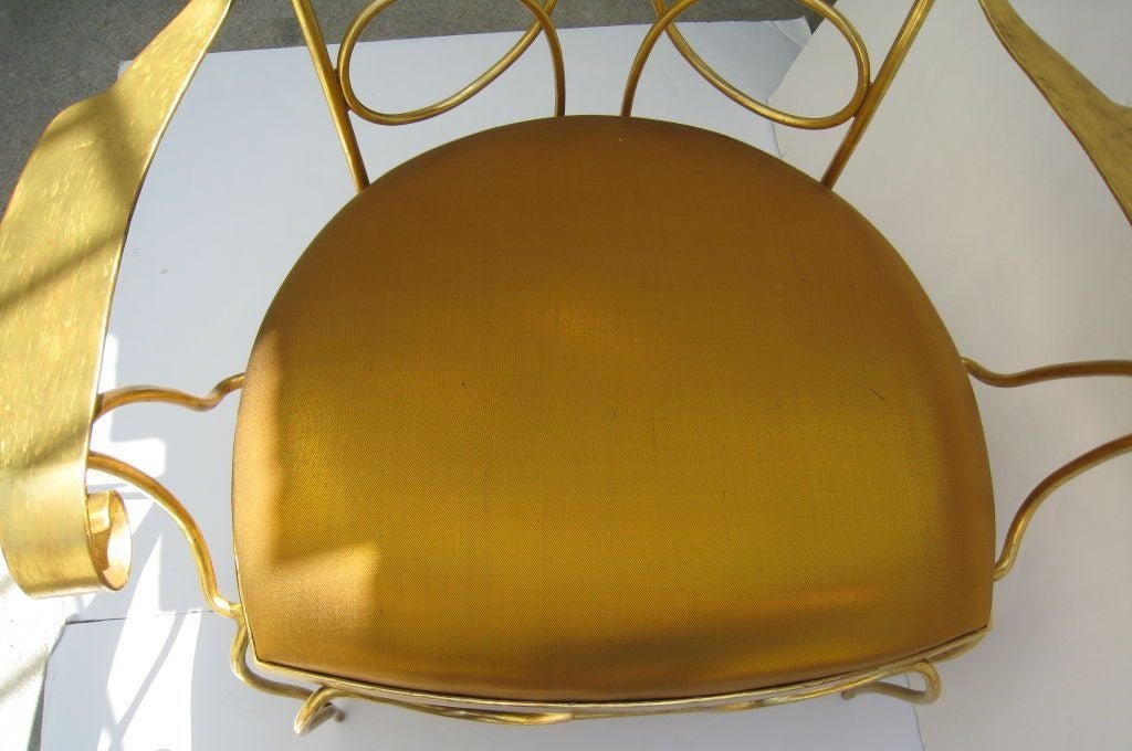 Arturo Pani Gilt over Iron Hand Forged Chair 6