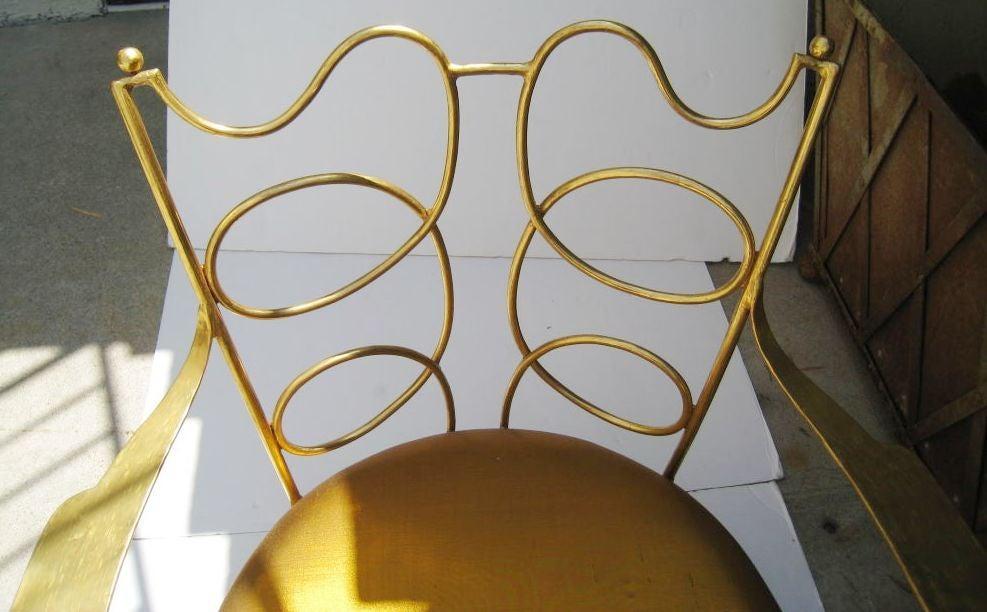 Arturo Pani Gilt over Iron Hand Forged Chair 4