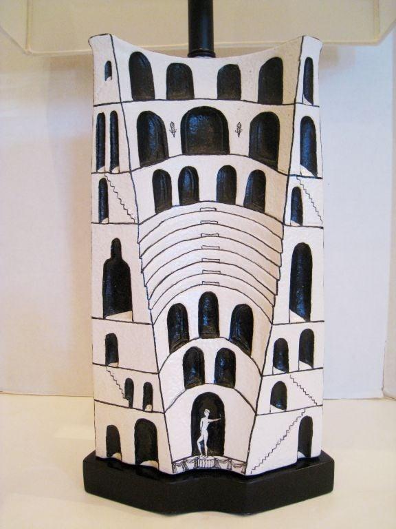 Italian Marcello Fantoni Ceramic Lamp For Sale