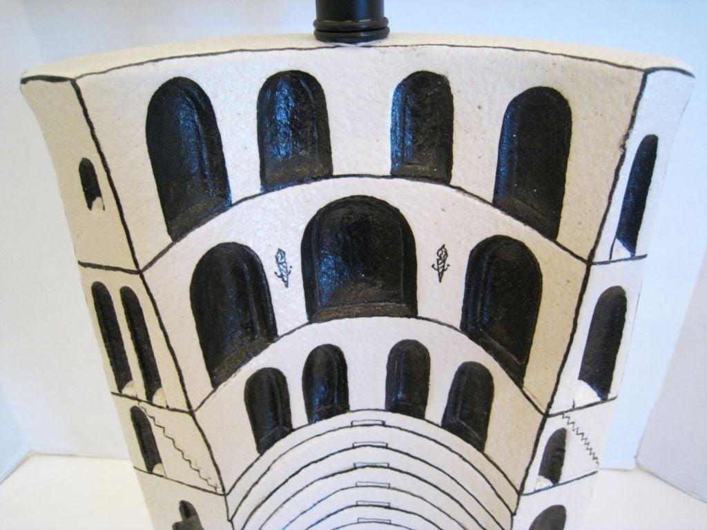 Mid-20th Century Marcello Fantoni Ceramic Lamp For Sale