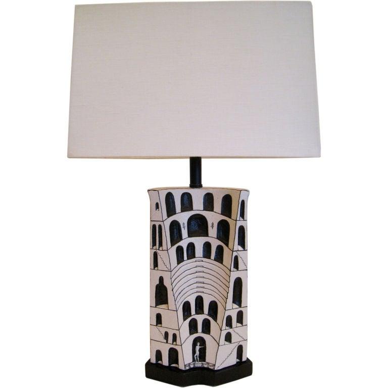 Marcello Fantoni Ceramic Lamp For Sale