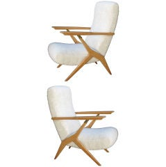 Rare Pair of Carlo Mollino  Adjustable Lounge Chairs