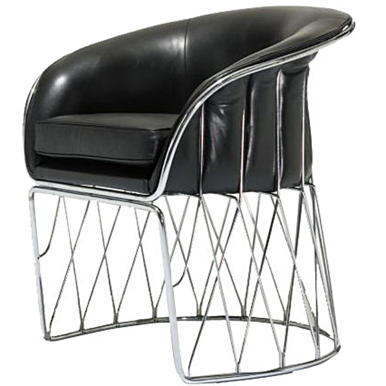 "Chrome and Leather ""Equipal"" Chair by Pedro Ramirez Vasquez 1"