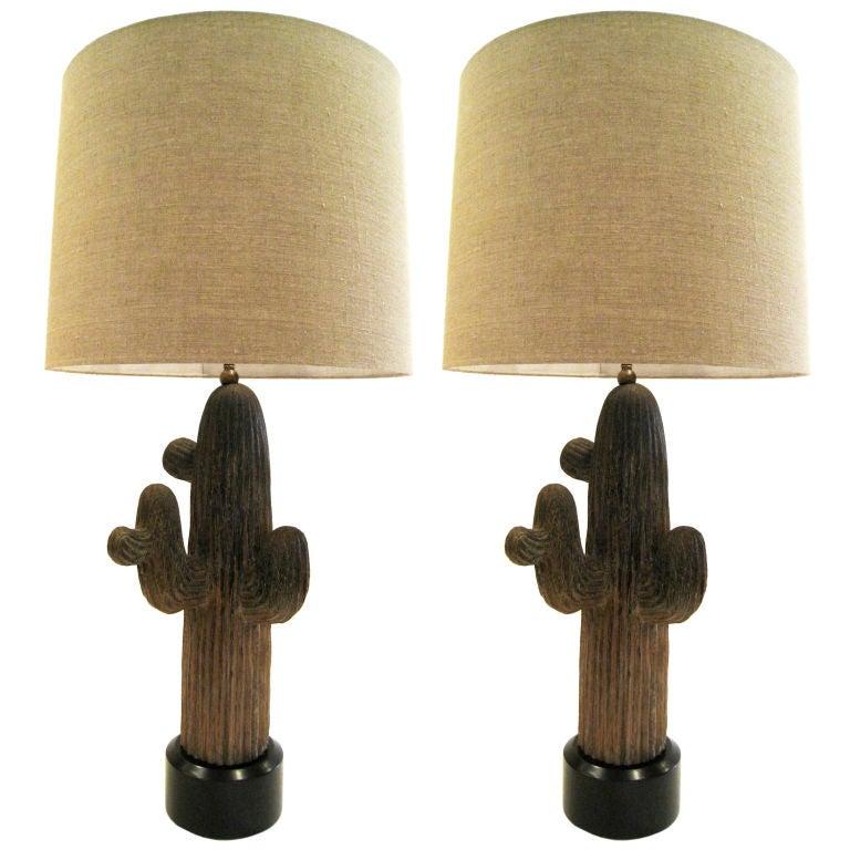 Pair of Cactus Lamps