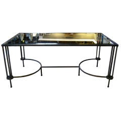 IRON TABLE WITH MIRRORED TOP