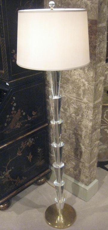 Pair of Italian Crystal Floor Lamps in the Manner of Fontana Arte 2