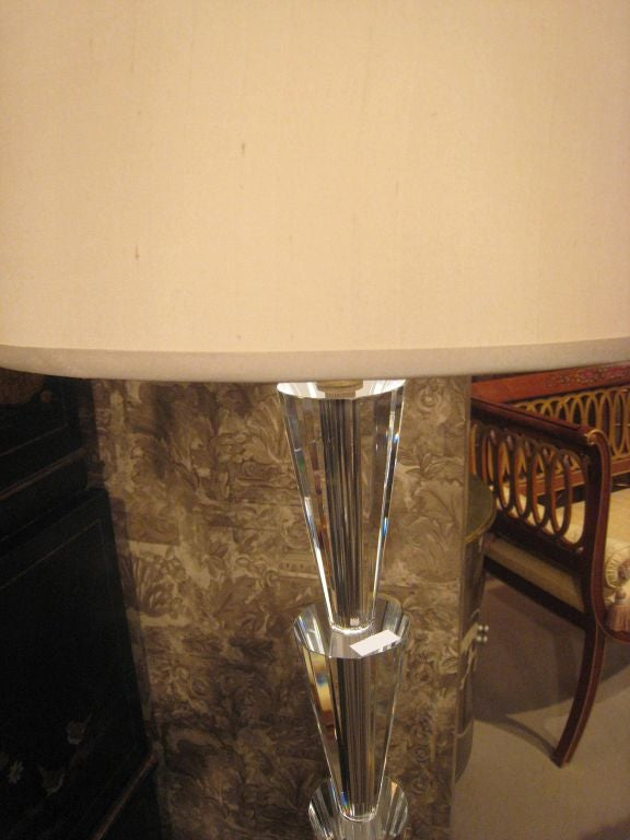 Pair of Italian Modern Neoclassical Crystal Floor Lamps,  Manner of Fontana Arte In Excellent Condition For Sale In New York, NY