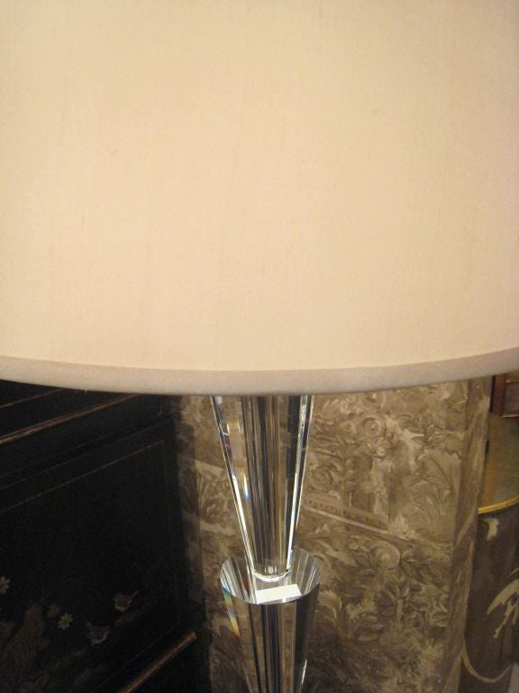 20th Century Pair of Italian Modern Neoclassical Crystal Floor Lamps,  Manner of Fontana Arte For Sale