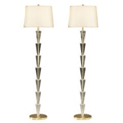 Pair Italian Modern Neoclassical Style Crystal Floor Lamps, Fontana Arte Style
