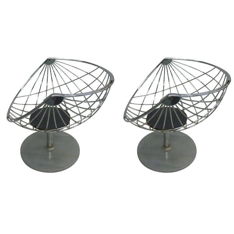 Pair of Belgian Mid Century Modern Chrome Steel  Lounge Chairs by Rudi Verelst